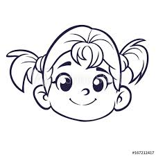 Cartoon Cute Girl Face Outlined Vector Illustration Of A Small Girl