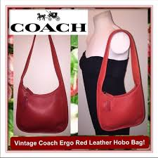 Vintage Coach Ergo Cherry Red Leather Hobo Bag!