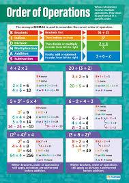 Math Operations Chart Amazon Com Order Of Operations Math Posters Laminated
