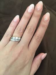 Acrylic Nail Designs Oval Oval Shaped Acrylic Nails W Rhinestones And A Touch Of