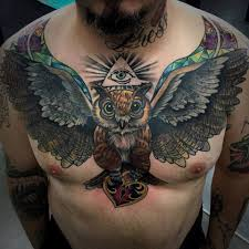 Open Wings Owl Tattoo On Man Chest Tattoo Tattoos Back Tattoo