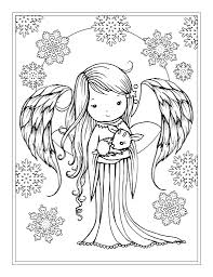 Angel Holding Tiny Fawn Coloring Page