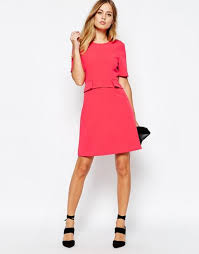 whistles ali a line dress in hot pink women dresses whistles leather skirt