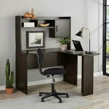 espresso wall mounted desk hutch 104