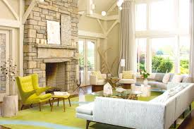 ... Interior Design Living Room Ideas Most Inspiring Layout White Fabric  Sofa Yellow Chair Stone Fireplace Parquete ...