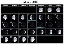 March 2018 Moon Phases Calendar Moon Phase Calendar Moon