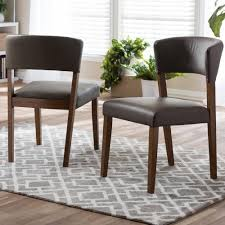 baxton studio montreal gray faux leather upholstered dining chairs set of 2