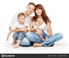 family on white background people four persons pas children stock photo