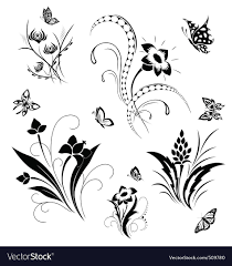 Flower And Butterfly Stencil Designs Set With Butterflies And Flower Patterns