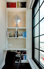 view in gallery built in bookshelf with a fold down desk