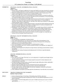 Junior Financial Analyst Resume Sample Stunning Templates Entry