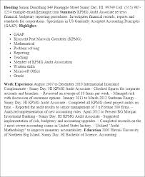 Resume Templates: Kpmg Audit Associate