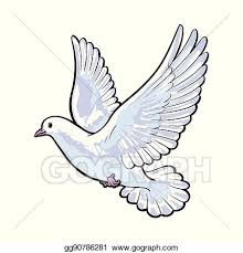 dove flying clipart.  Dove Free Flying White Dove Isolated Sketch Style Illustration For Dove Flying Clipart V