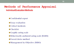 performance appraisal performance appraisal performance  13 methods of performance appraisal individual evaluation methods confidential report essay evaluation critical incidents checklist graphic rating scale