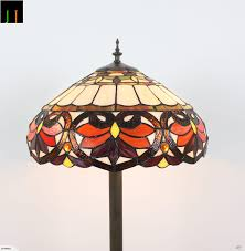 Jt Tiffany Stained Glass Victorian Large Shade Floor Lamp