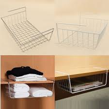 Multipurpose Iron Hanging Basket Rack Storage Holder For Wardrobe Desk  Bathroom Kitchen Refriger Office Supplies