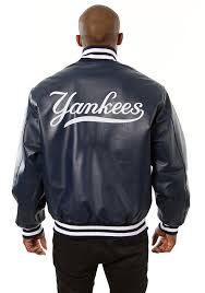 new york yankees mens navy blue all leather jacket heavyweight jacket image 2