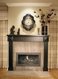 cool brown striped window curtains between fireplace plus custom glass fireplace screen design