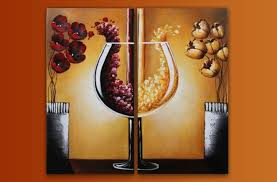 wine cup and flowers oil painting wall art modern canvas art with stretched and framed ready