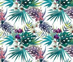 Topical Pattern Mesmerizing Topical Hawaii Watercolor Orchid Flowers Pineapple Fabric Khaus