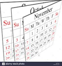 Calendar 217 There Is A Calendar Of Autumn Months Week Starting In Sunday Stock