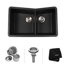 discontinued kraus 33 inch undermount 60 40 double bowl black onyx granite kitchen sink