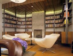 modern home library bookcases design with contemporary chairs modern home space space design small setup room ideas organization 554x424 home office library decoration modern furniture