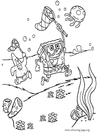 Spongebob Squarepants Patrick And Spongebob Hunting Jellyfish