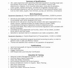 Resume For Heavy Equipment Operator Construction Resume Examples