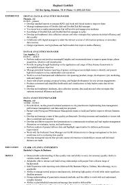 Data Analytics Manager Resume Samples Velvet Jobs