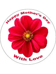 Red Flower Mothers Day Edible Cake Cupcake Toppers Incredible
