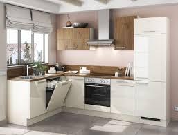Einbauküche MANKACAMPO 2 Elfenbein Glanz / Kastelleiche Küchenzeile L Form  175 X 285cm Ohne E