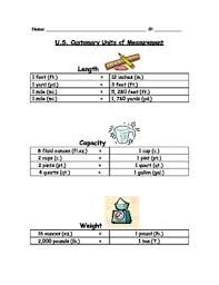 Metric To Us Customary Conversion Chart Customary Conversion Chart Worksheets Teaching Resources Tpt