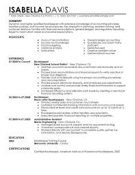 Accounting Bookkeeping Resume Sle Sle Bookkeeper Resume 28