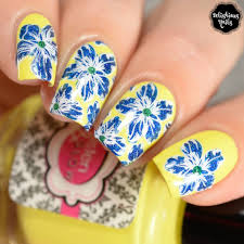 Blue Flower Nail Designs Yellow And Blue Flowers Stamping Nail Art Design Nail