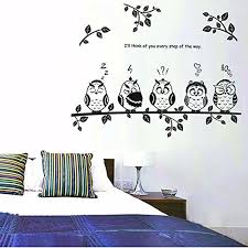 wall decor soledi image new cute diy removable wall decal five black white owls bird