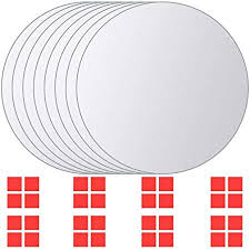 vidaXL <b>8 pcs Mirror Titles</b> Round Glass: Amazon.co.uk: Kitchen ...