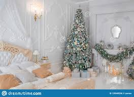 Christmas Bright White Lights Luxurious Classic Bright White Bedroom Interior With
