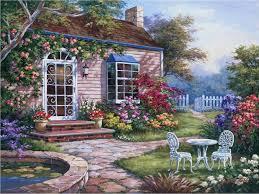spring patio i painting sung kim spring patio i art painting
