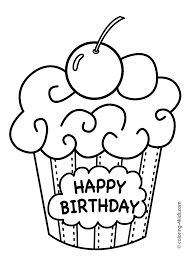 birthday coloring pages printable. Wonderful Birthday Cake Happy Birthday Party Coloring Pages U2013 Muffin Coloring Pages For Kids Intended Printable Pinterest