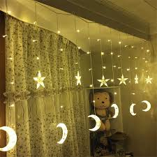 Curtain Led Lights Uk Us 17 98 30 Off 2 5m Led Icicle Curtain Light 138leds 6 Stars 6 Moons Fairy Light Garland For Home Party Birthday Decoration Eu Us Uk Au In Holiday