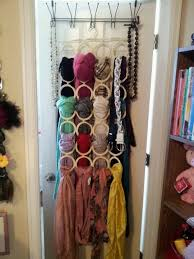IKEA scarf organizer + over the door hanger = brilliant and beautiful  display of my favorite