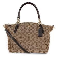 Coach Signature Small Kelsey Satchel Shoulder Bag Handbag, Khaki, Brown