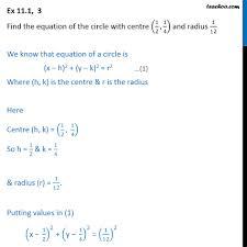 ex 11 1 3 equation of circle center 1 2 1
