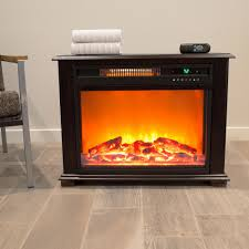 freestanding electric fireplace with remote in dark oak stain