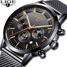 Relogio <b>LIGE Mens Watches Top</b> Brand Luxury Casual Quartz ...