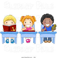 Pal Clipart of a Picture of Diverse, Colorful Diverse School Kids Doing Work  at Their School Desks by BNP Design Studio - #549
