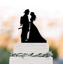 Amazoncom Fireman Groom And Bride Silhouette Wedding Cake Toppers