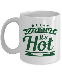 Chop It Like Its Hot Funny Cooking Humor Quotes Featuring A Chopping Knife Coffee Tea Gift Mug Accessories And Cool Culinary Gag Gifts For The