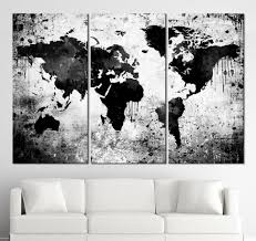 black white world map canvas print contemporary 3 panel triptych intended for latest dwell abstract on dwell abstract wall art with displaying photos of dwell abstract wall art view 5 of 15 photos